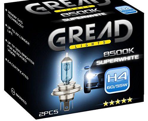 2x h4 halogen lampen in xenon optik von gread lights super white 8500k 60 55w e. Black Bedroom Furniture Sets. Home Design Ideas